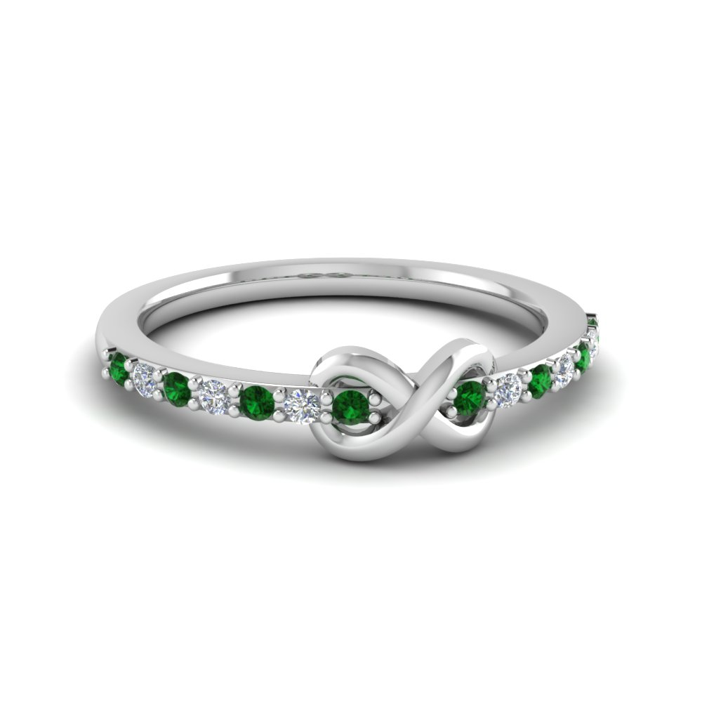 delicate infinity promise diamond ring with emerald in FD8017BGEMGR NL WG