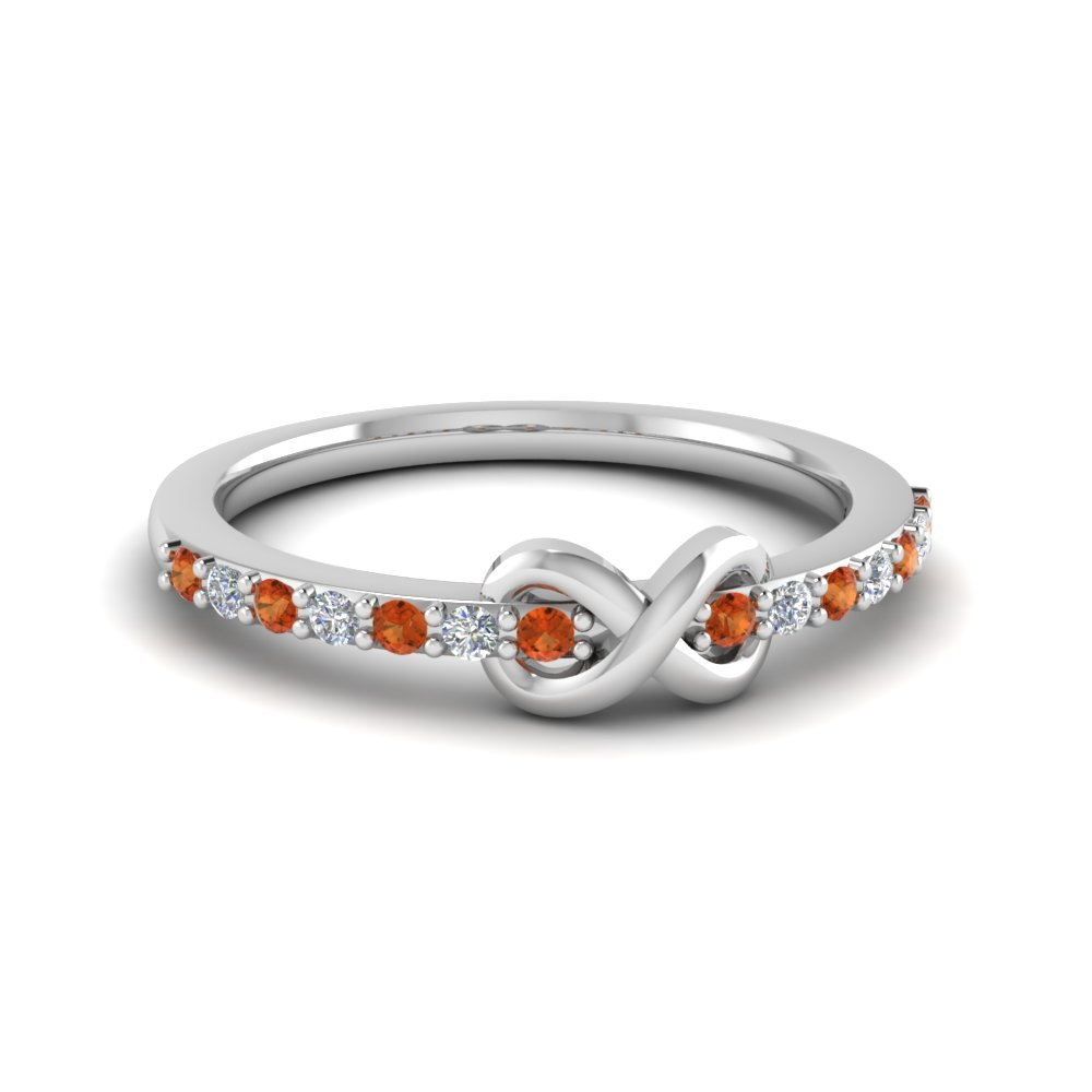 delicate infinity promise diamond ring with orange sapphire in FD8017BGSAOR NL WG