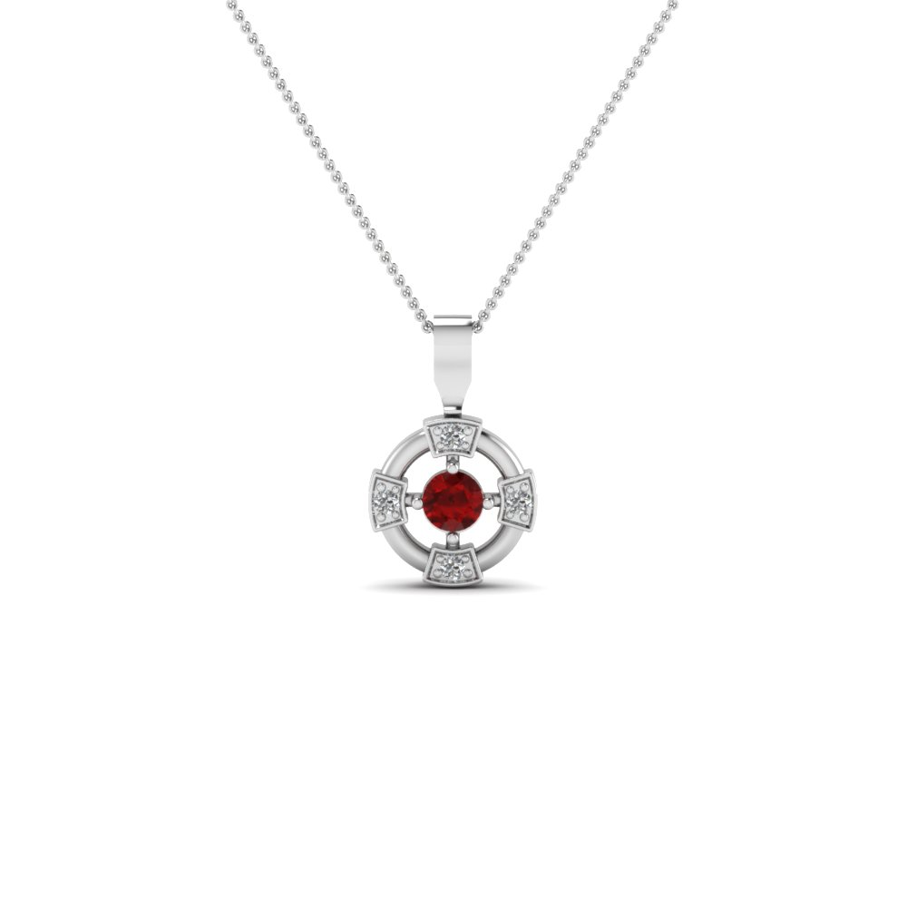 wheel design diamond pendant necklace with ruby in sterling silver FDPD2729GRUDR NL WG