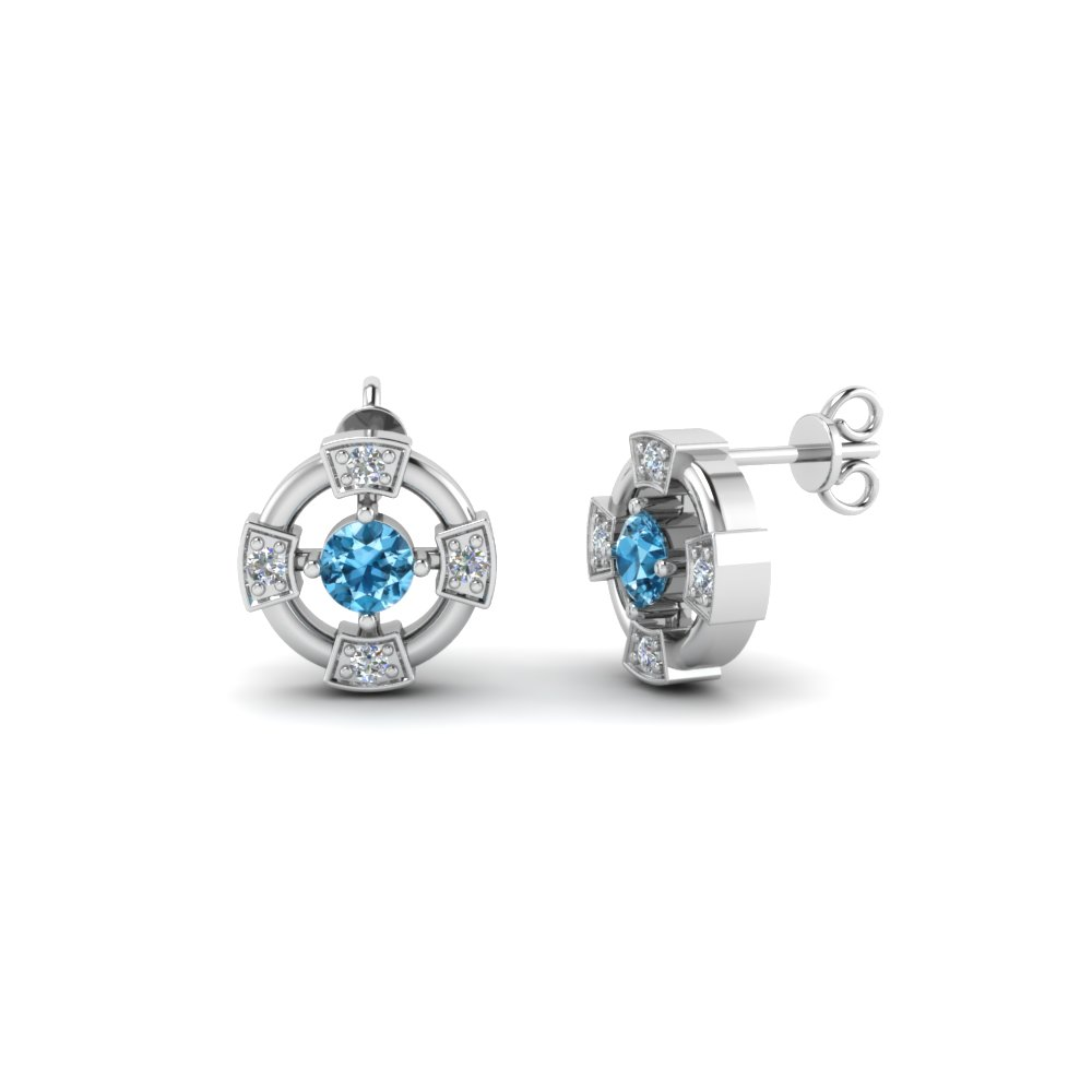 wheel stud diamond earring with ice blue topaz in FDEAR1086GICBLTO NL WG