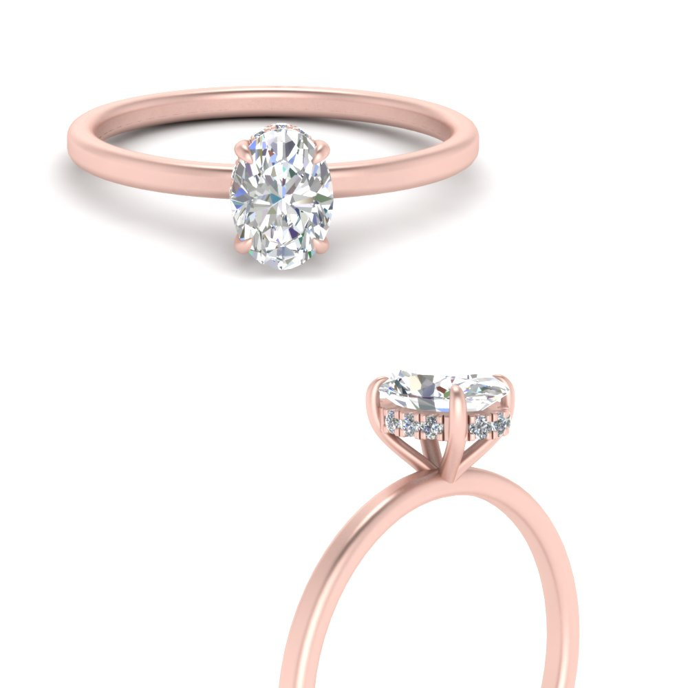 Thin Setting Hidden Diamond Oval Halo Engagement Ring In 14k Rose Gold Fascinating Diamonds