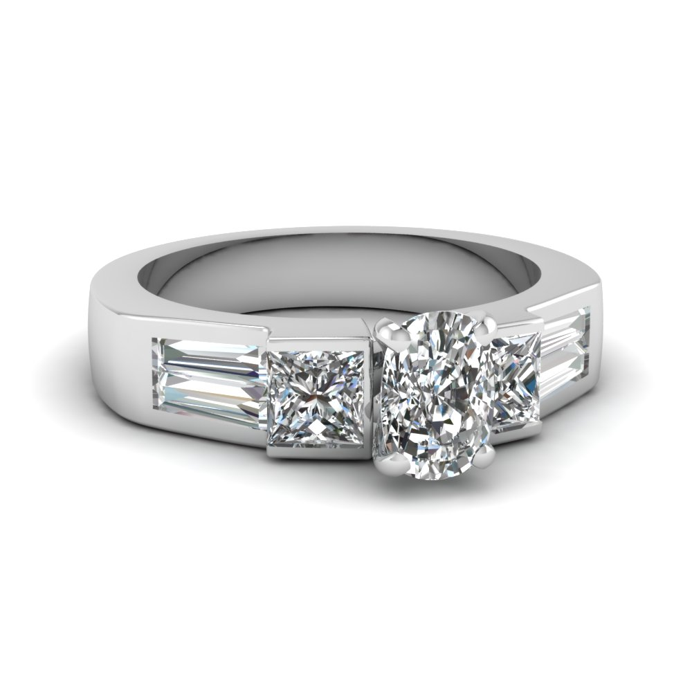 white gold baguette diamond discounted engagement ring in 14K white gold FDENR1001CUR NL WG