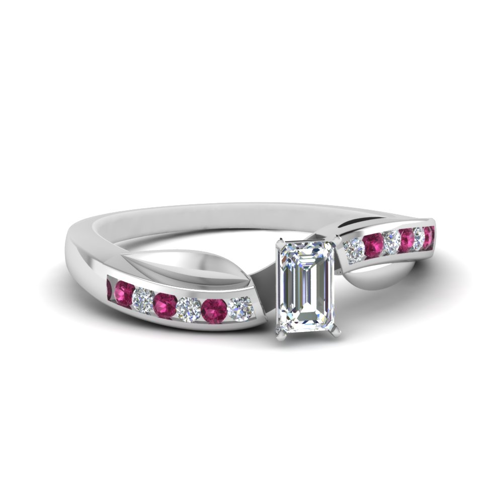 80e23d387 petal channel set emerald cut diamond engagement ring with pink sapphire in  FDENS3083EMRGSADRPI NL WG