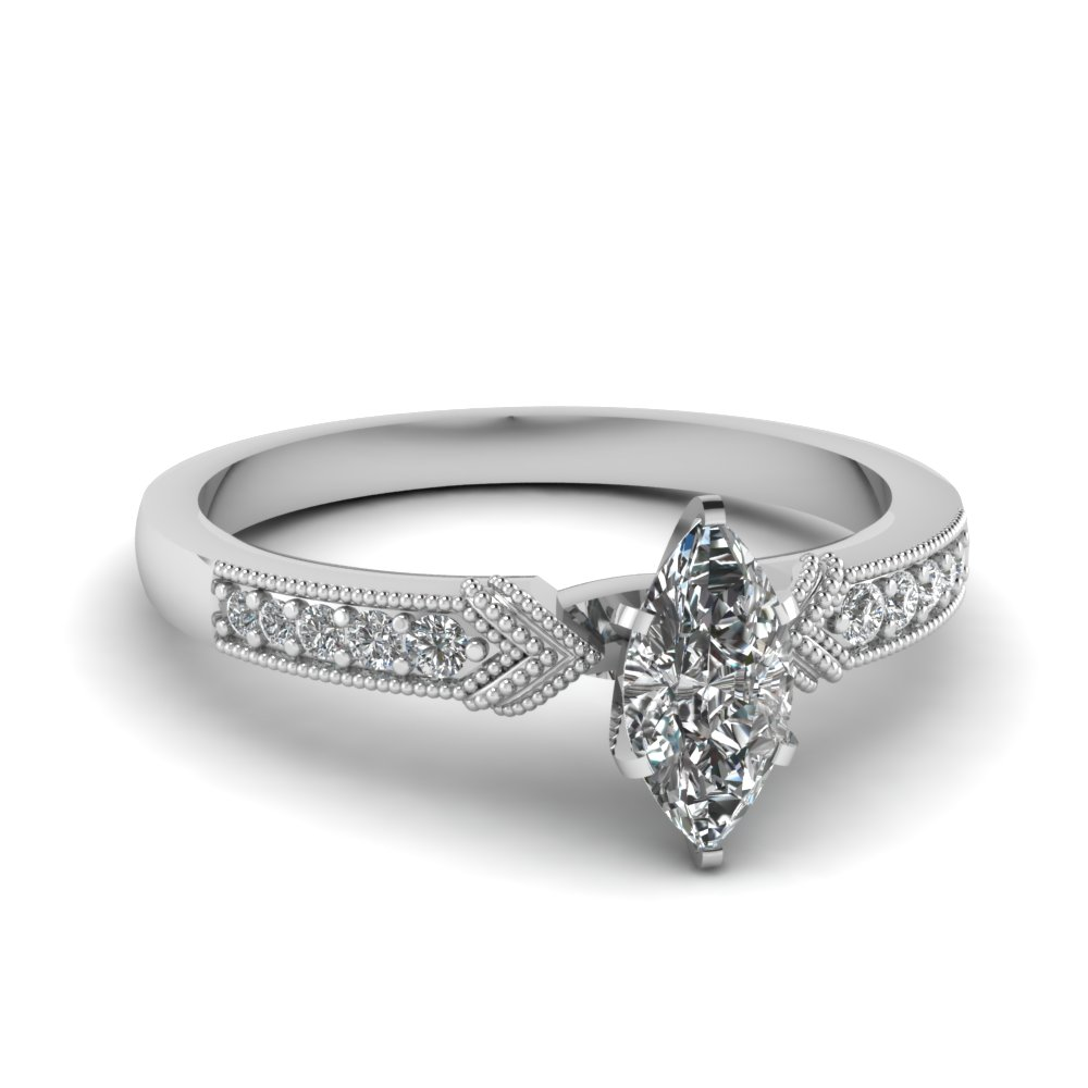 antique pave marquise diamond engagement ring in FD68356MQR NL WG