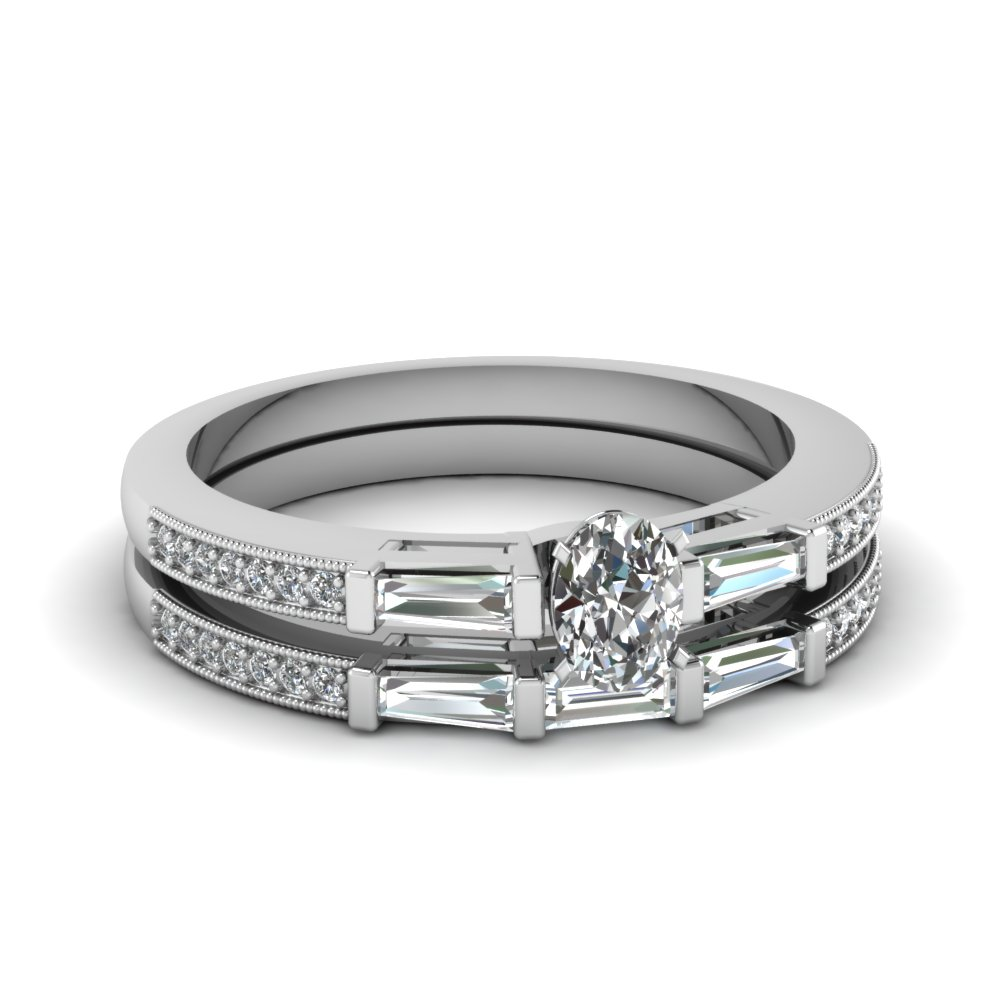 Milgrain Oval Diamond Ring Set
