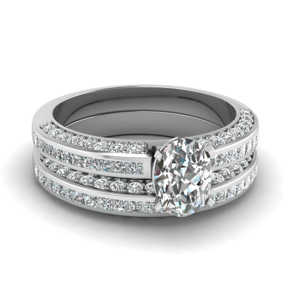 Oval Diamond Channel Bridal Set