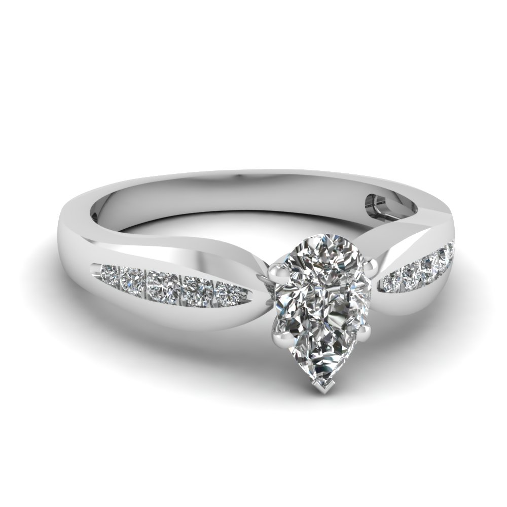 white gold pear diamond ring clearance rings with white diamond in 14k white gold - Clearance Wedding Rings