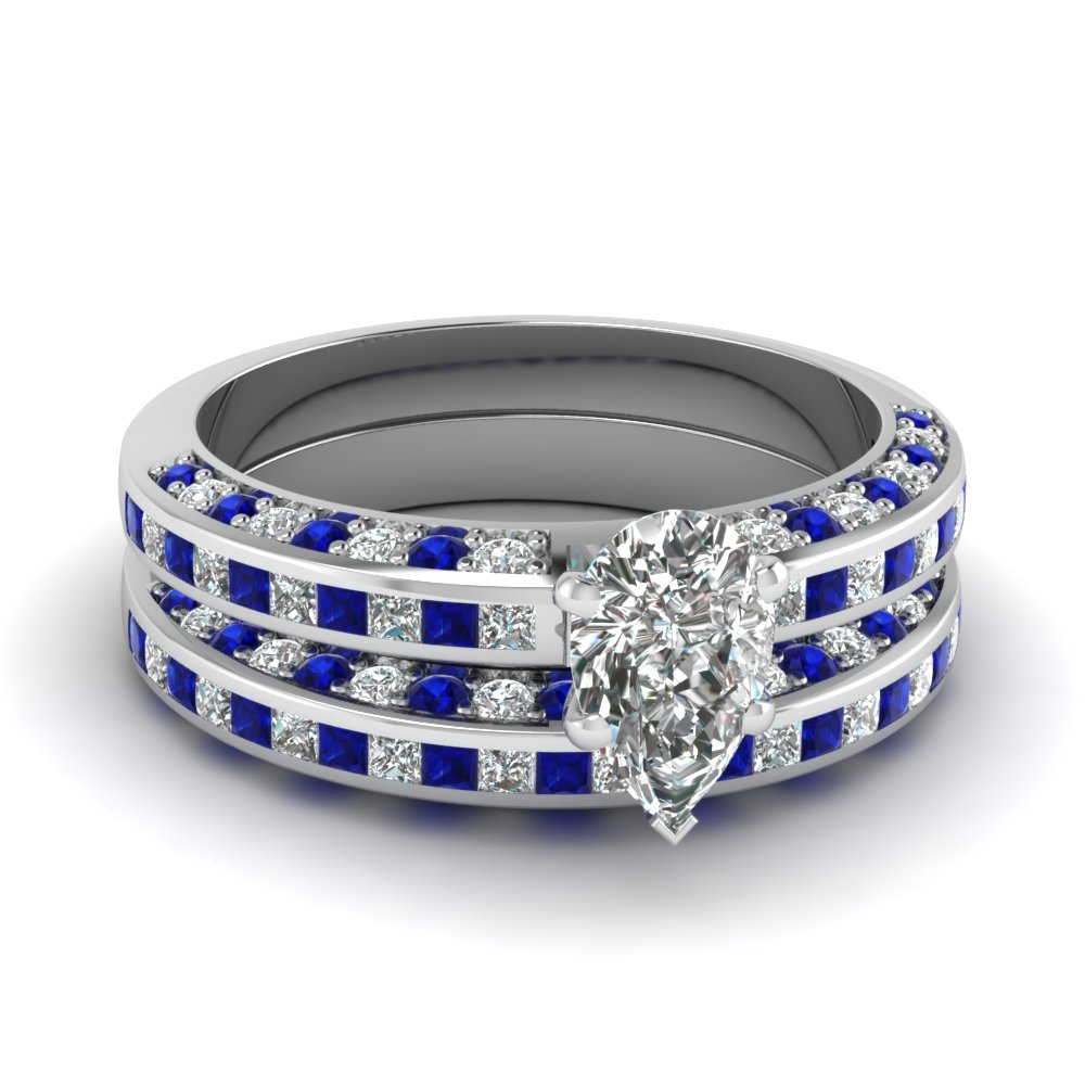 Accent Pear Shaped Diamond Bridal Ring Set With Sapphire