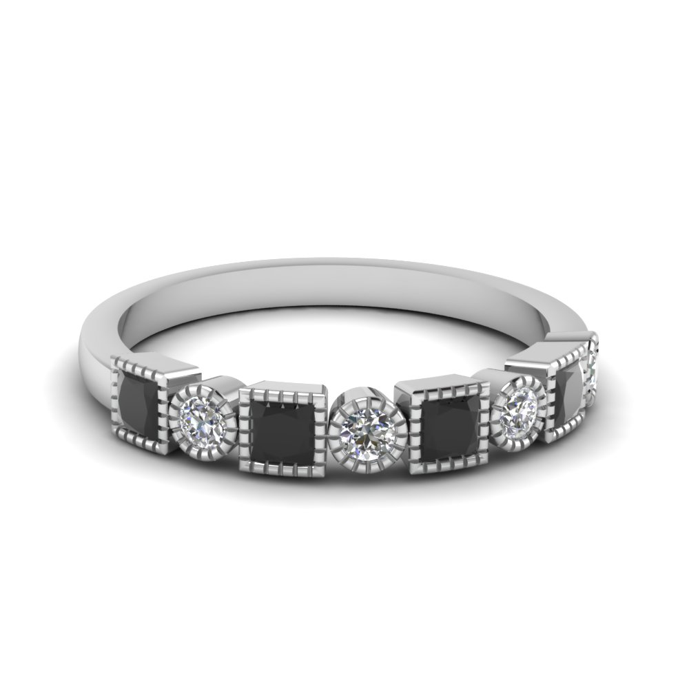 womens wedding bands with black diamond in 14k white gold - Womens Black Wedding Ring Sets