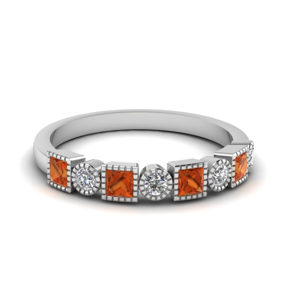 diamond art deco band with orange sapphire in FD64626BGSAOR NL WG