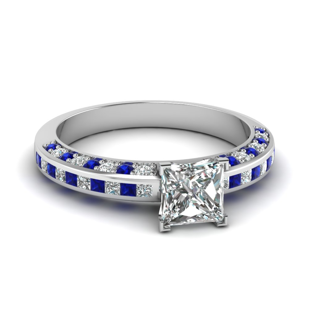 Princess Cut Diamond Accent Engagement Ring With Sapphire In 14k White Gold Fascinating Diamonds