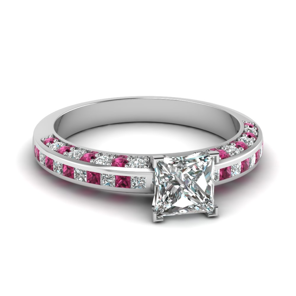 princess cut diamond accent ring with pink sapphire in 950. Black Bedroom Furniture Sets. Home Design Ideas