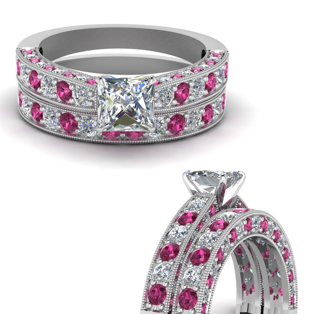 milgrain-princess-cut-diamond-wedding-ring-set-with-pink-sapphire-in-FDENS1775PRGSADRPIANGLE3-NL-WG.jpg
