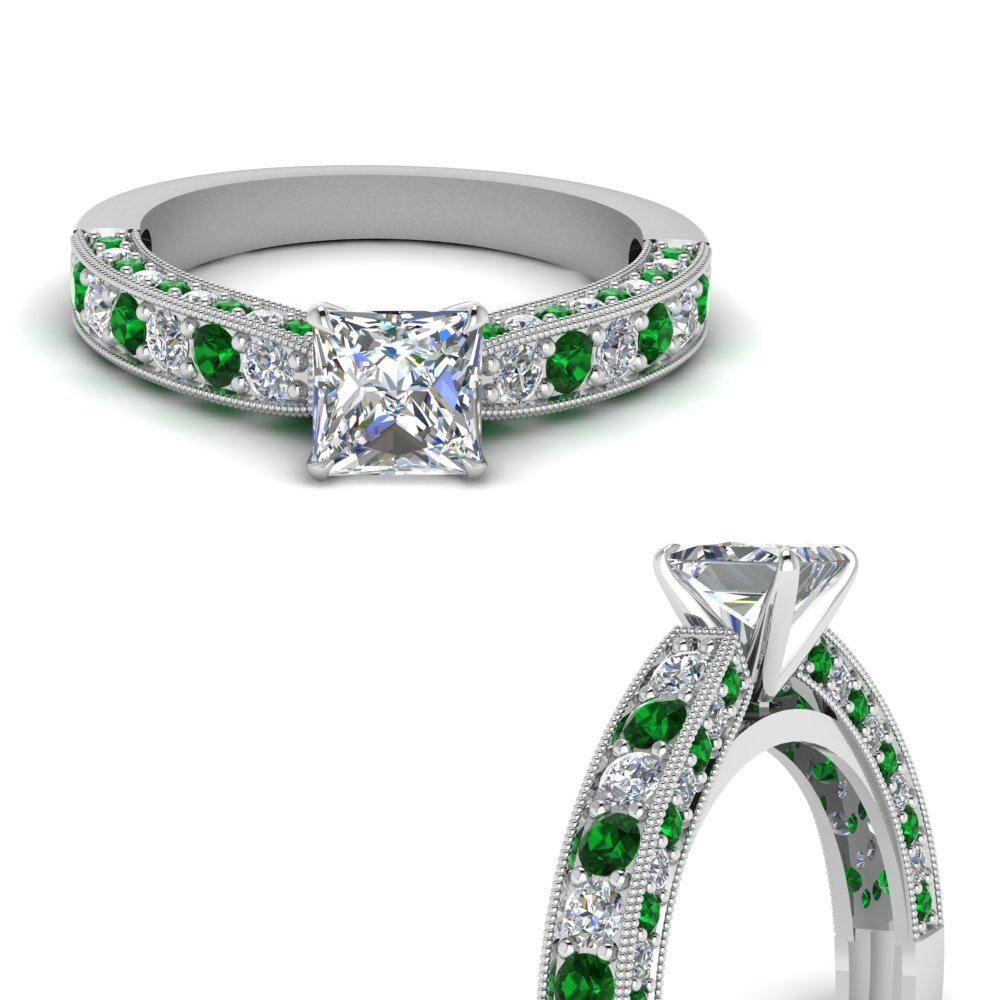 milgrain-princess-cut-diamond-engagement-ring-with-emerald-in-FDENS1775PRRGEMGRANGLE3-NL-WG