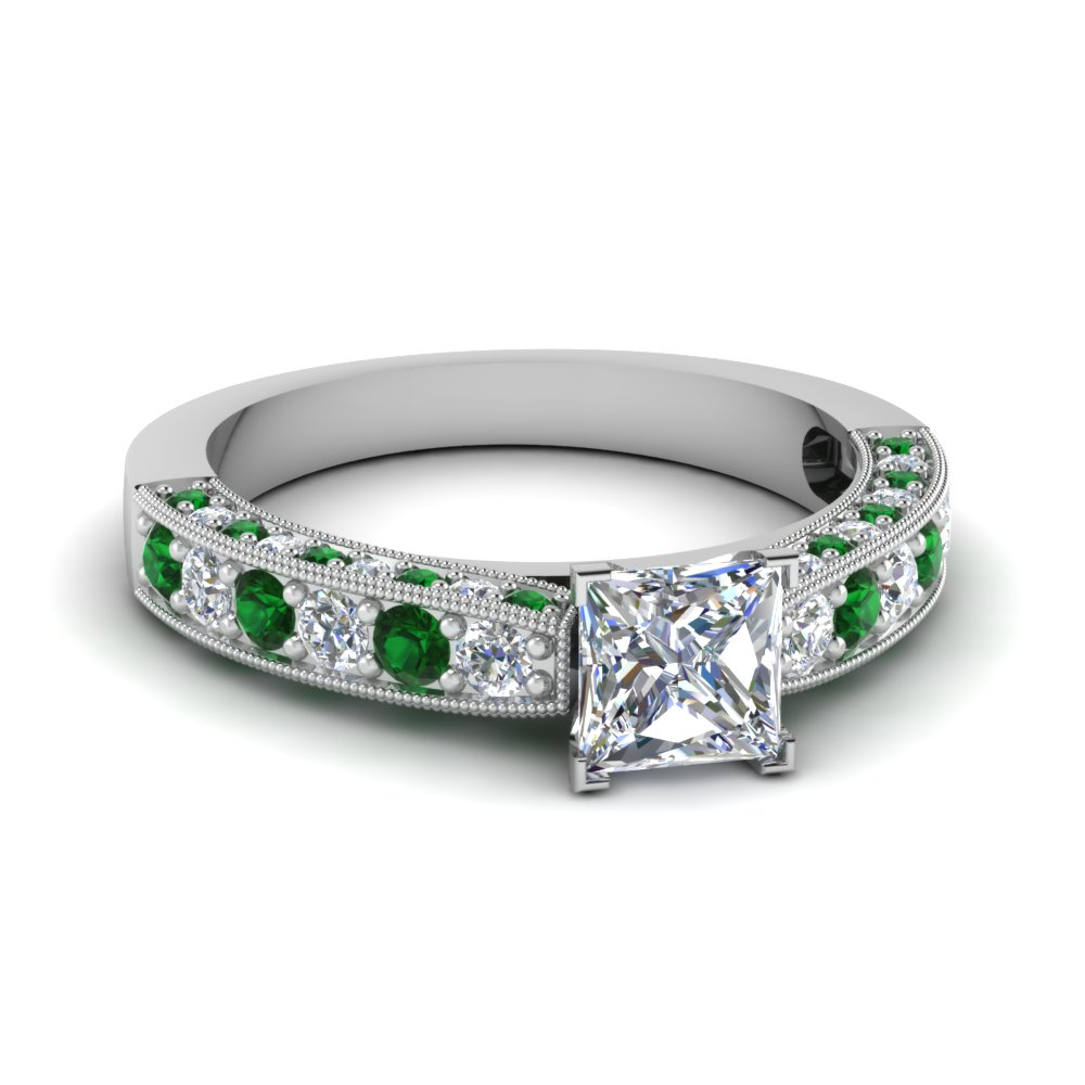 Emerald Milgrain Diamond Rings