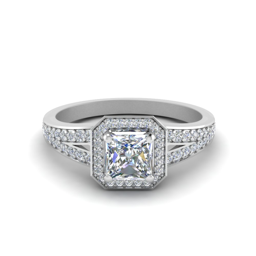 pave princess cut halo diamond engagement ring in FDENS3209PRR NL WG