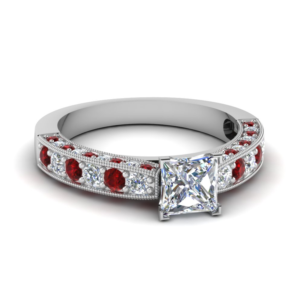 milgrain princess cut diamond engagement ring with ruby in FDENS1775PRRGRUDR NL WG