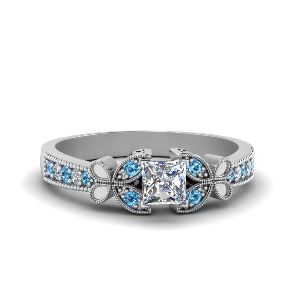 vintage butterfly princess cut diamond engagement ring with blue topaz in FDENS3077PRRGICBLTO NL WG