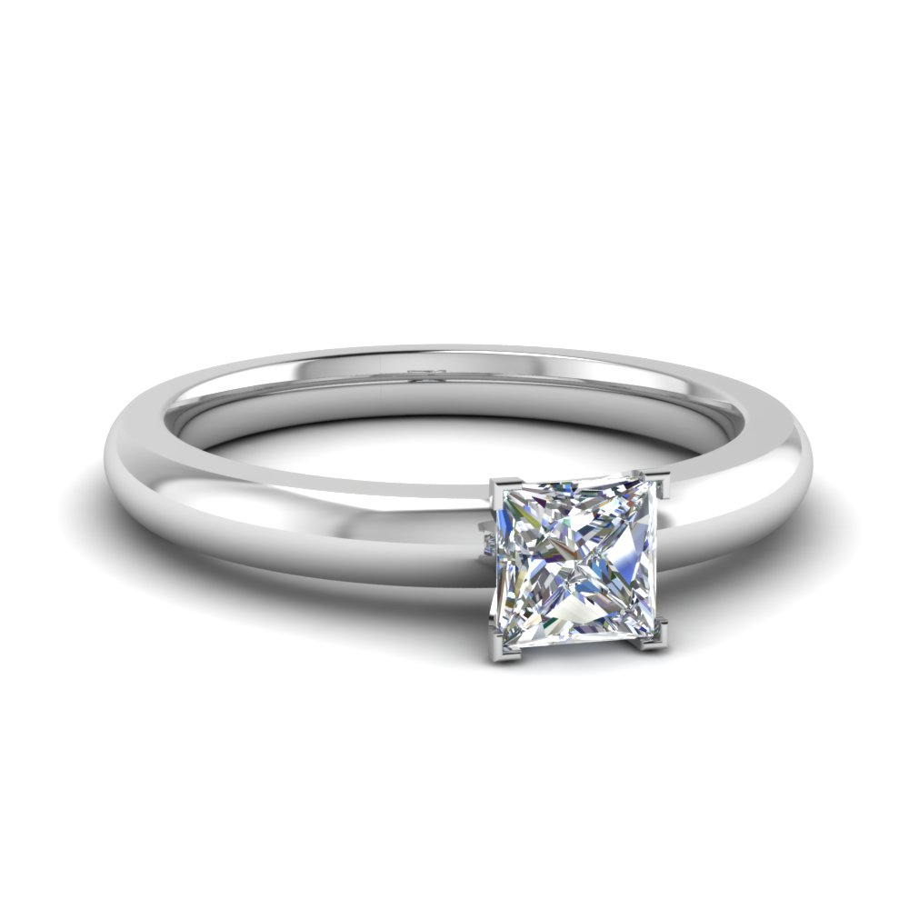 0.33 carat diamond princess cut solitaire engagement ring discounted in FDENR8027PRR 33CT NL WG