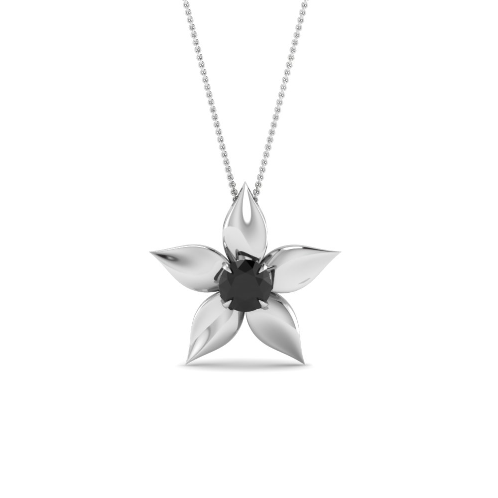 Daisy Black Diamond Solitaire Pendant