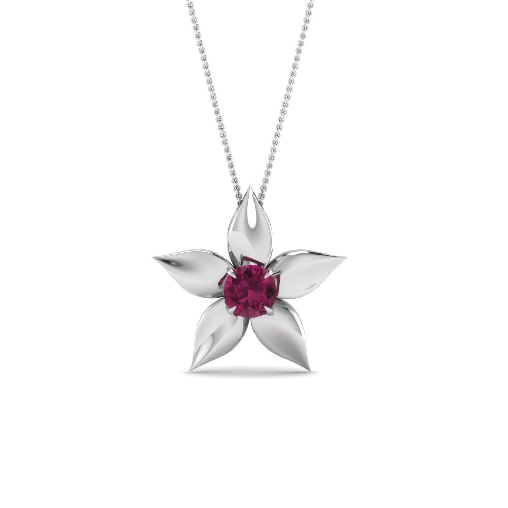 daisy pink sapphire solitaire pendant in FDPD1091GSADRPIANGLE2 NL WG