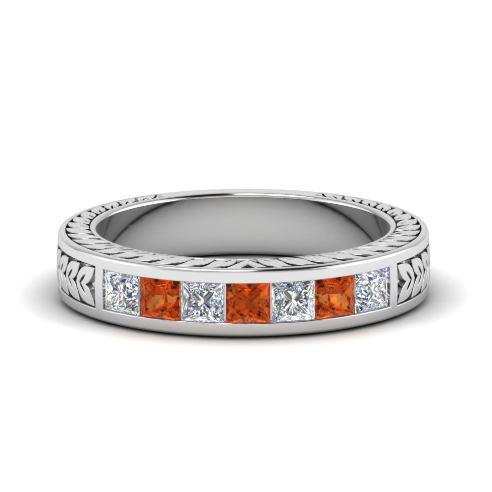 Engraved Channel Diamond Band