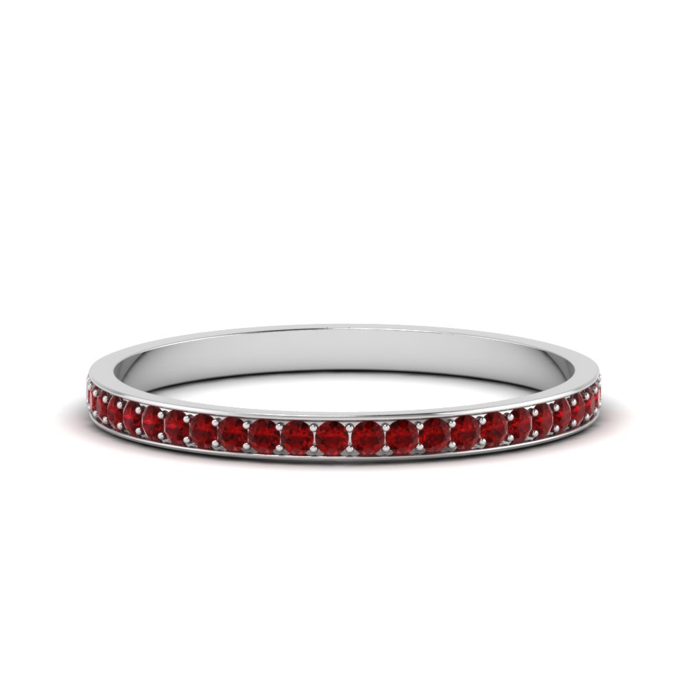 thin pave ruby wedding band in FDENS3195BGRUDR NL WG GS