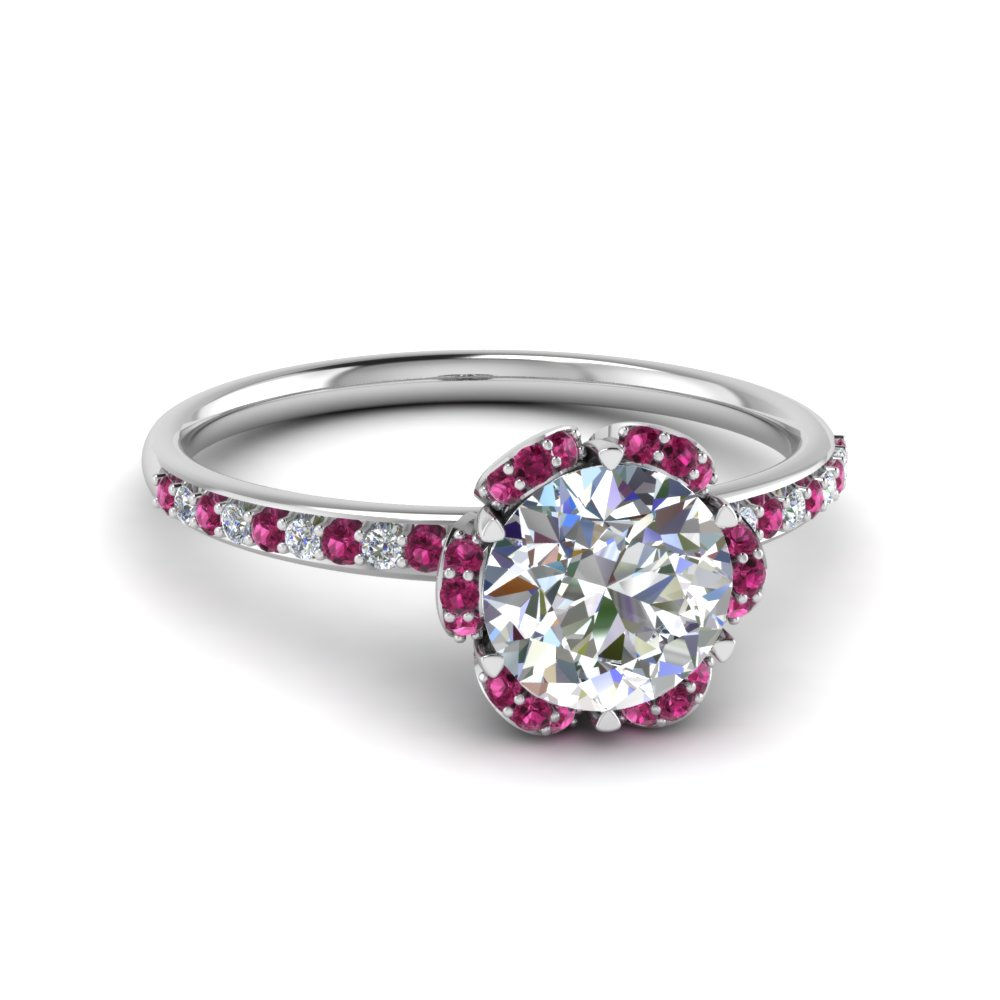 Delicate Petal Pink Sapphire Ring