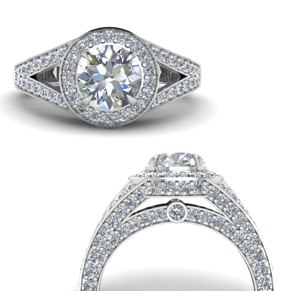 pave round halo diamond engagement ring in FD67858RORANGLE3 NL WG