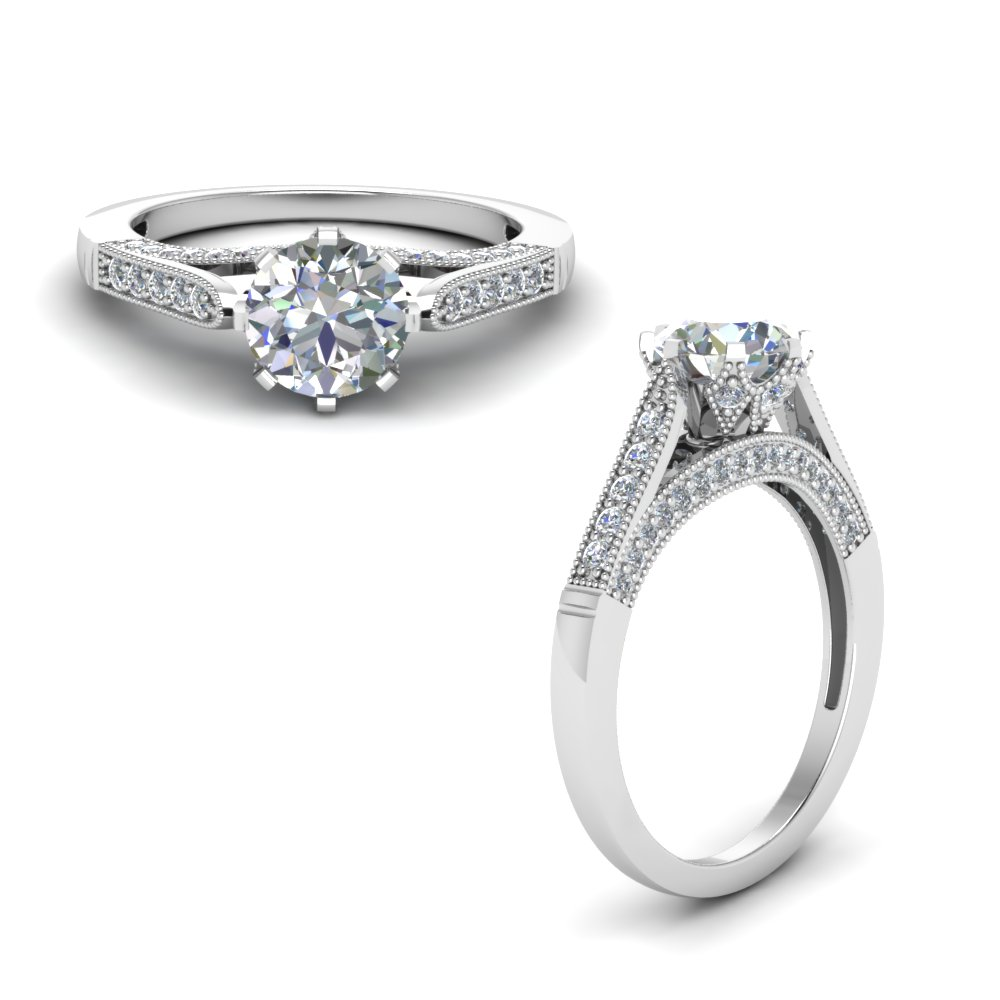 High Set Engagement Ring Pave
