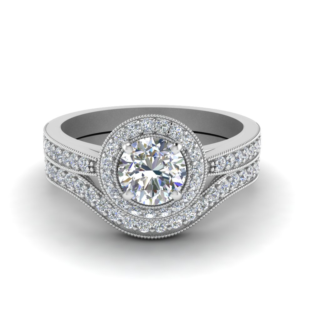 Milgrain Pave Halo Diamond Wedding Set