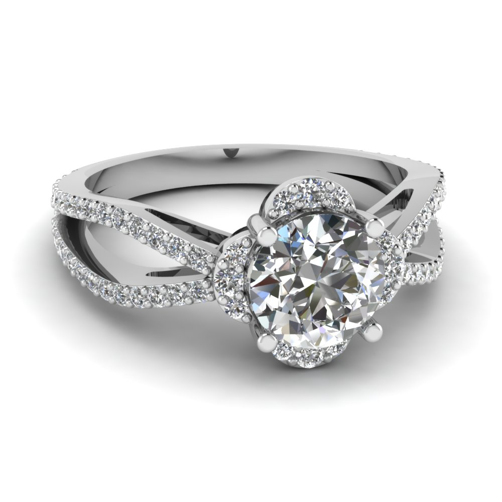 Lab Diamond Halo Engagement Ring