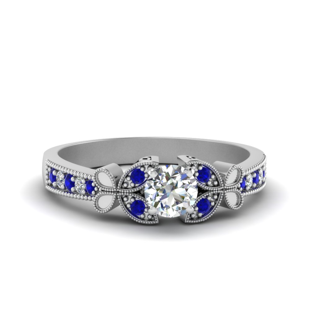 vintage butterfly round diamond engagement ring with sapphire in FDENS3077RORGSABL NL WG