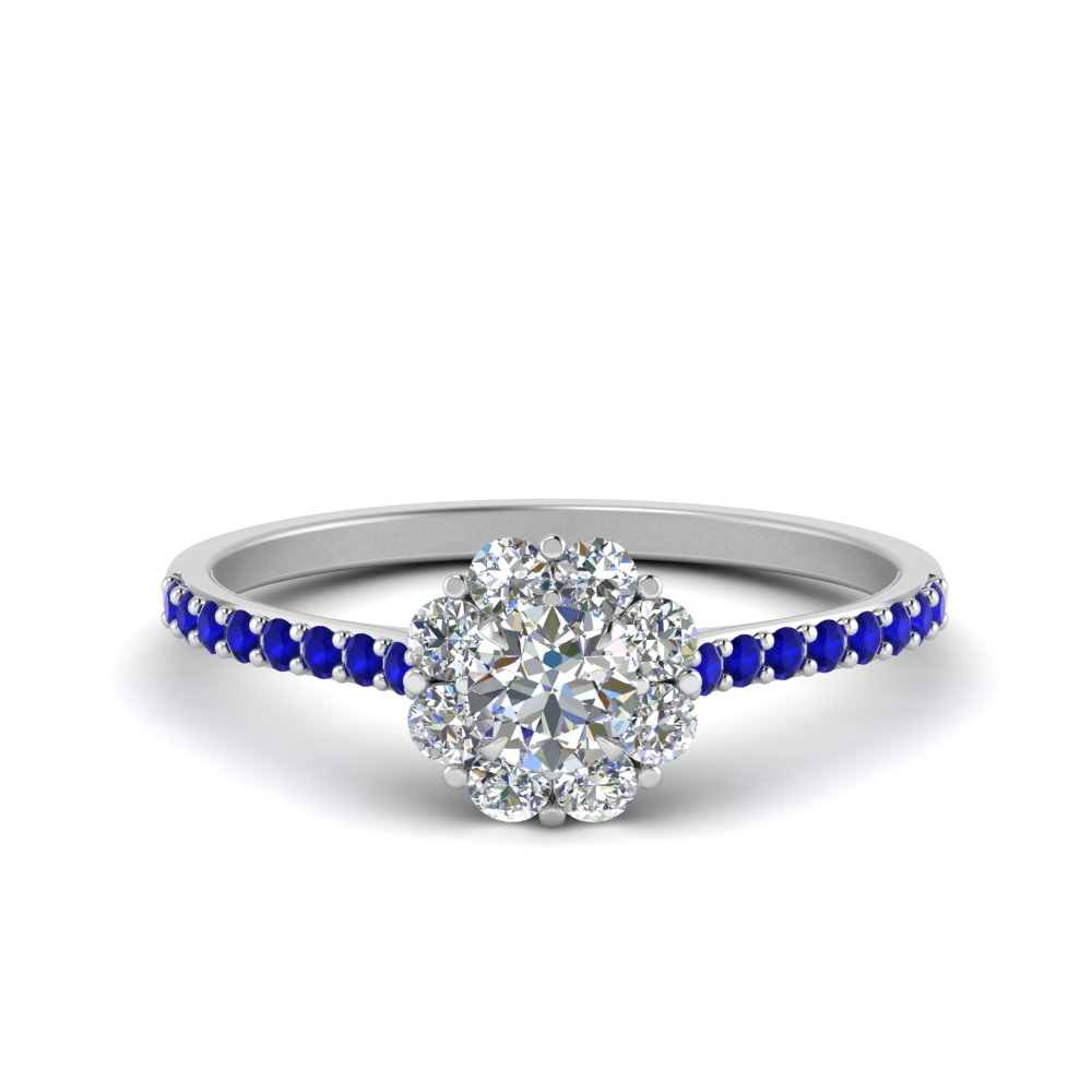 b9839f48c flower halo diamond engagement ring with sapphire in FD122092ROWGSABL NL WG