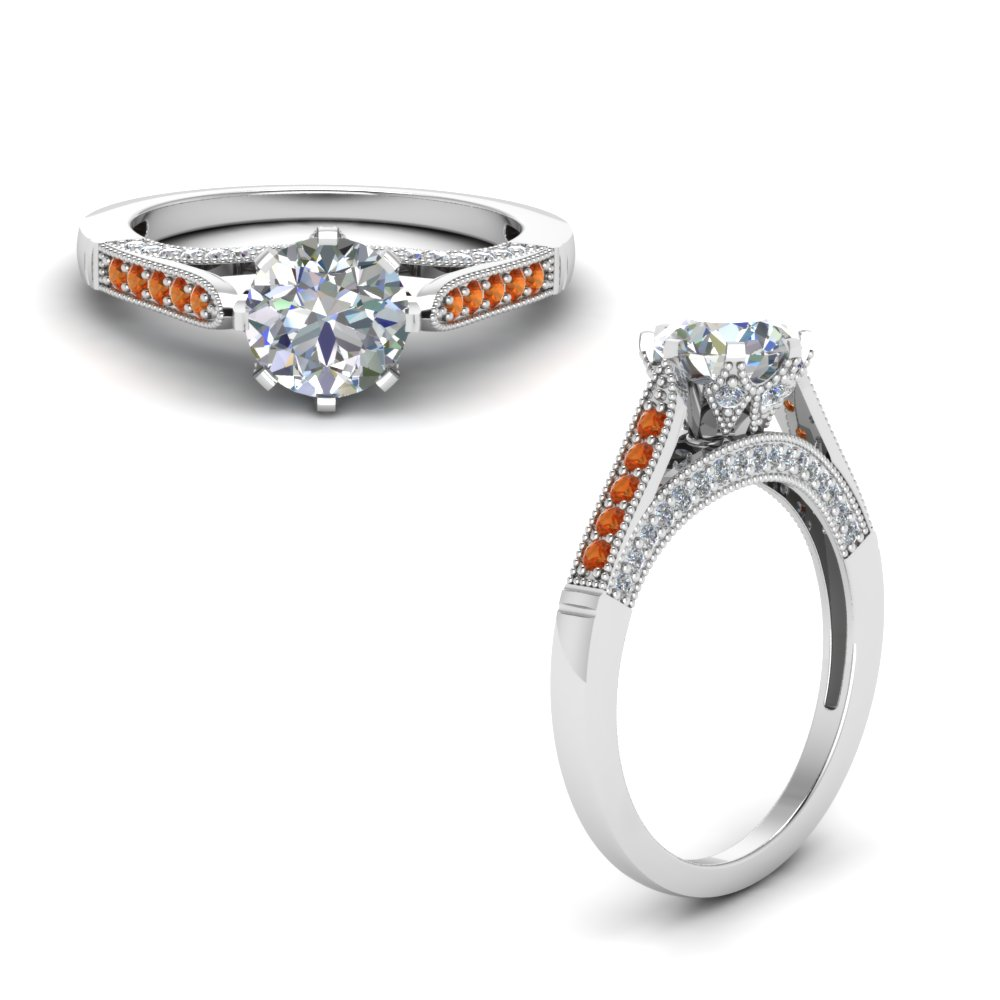 cathedral milgrain diamond engagement ring with orange sapphire in FDENR8668RORGSAORANGLE1 NL WG