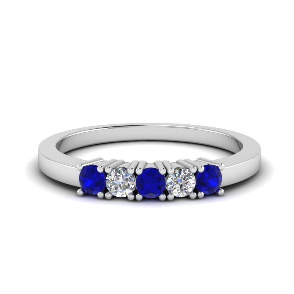 product sapphire anniversary ring rose band bands prong gold half white set eternity