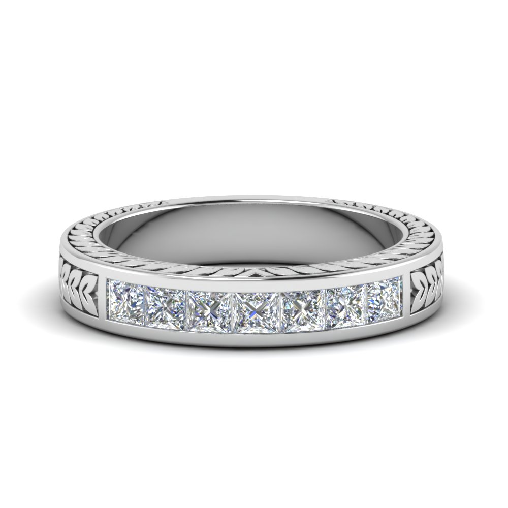 engraved princess cut diamond channel wedding band in FDWB1327 NL WG