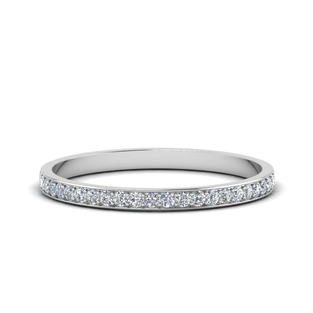 thin pave diamond wedding band in FDENS3195B NL WG GS