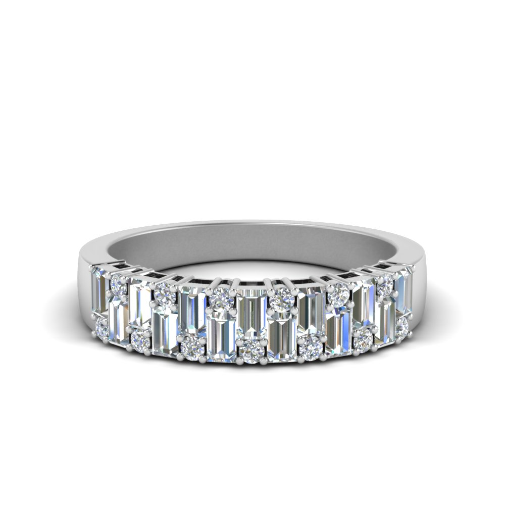 Vintage Baguette Diamond Wedding Band In 14K White Gold ...