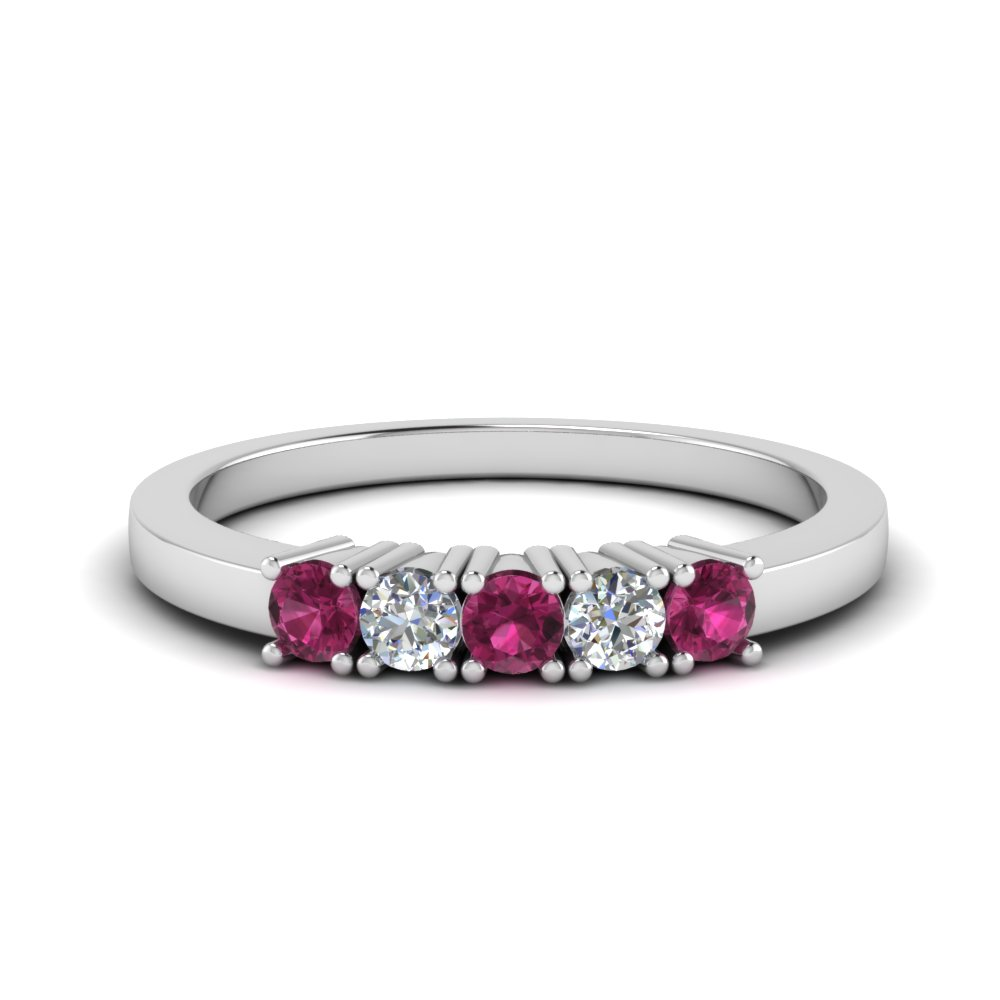 five stone anniversary band with pink sapphire in FDWB144ROGSADRPI NL WG.jpg
