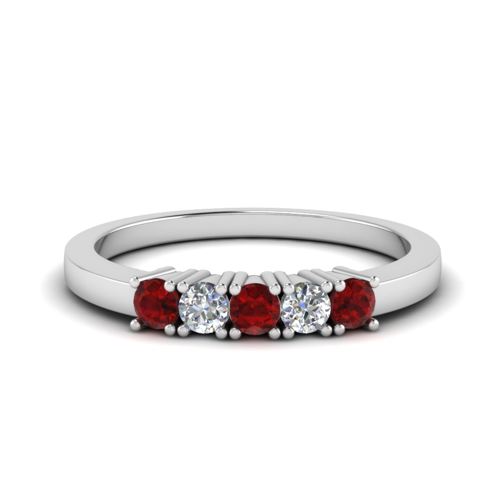 5 Stone Ruby Anniversary Band
