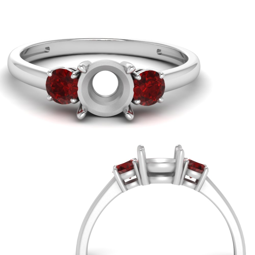 basket prong semi mount diamond 3 stone engagement ring with ruby in FDENS3106SMRGRUDRANGLE3 NL WG.jpg