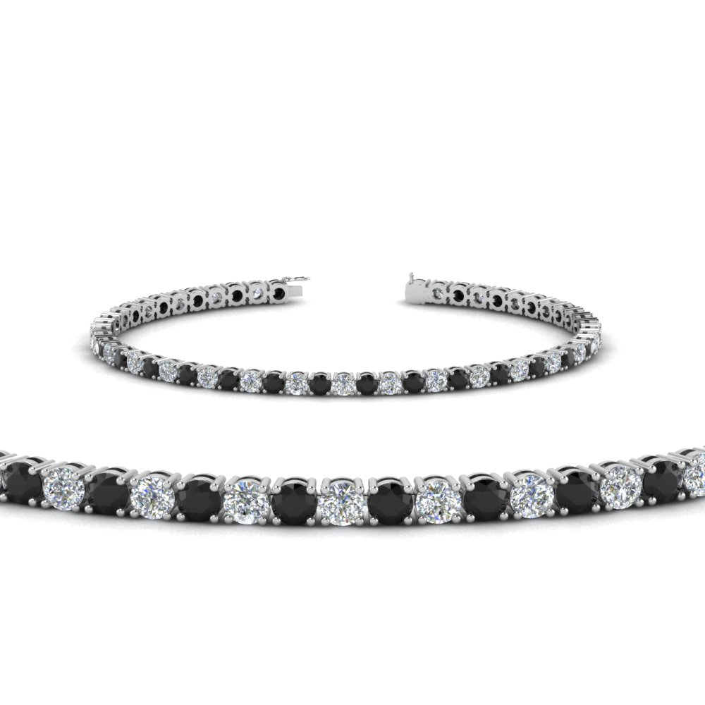tennis bracelet with black diamond (4 Carat) in 14K white gold FDBRC8637 4CTGBLACK NL WG