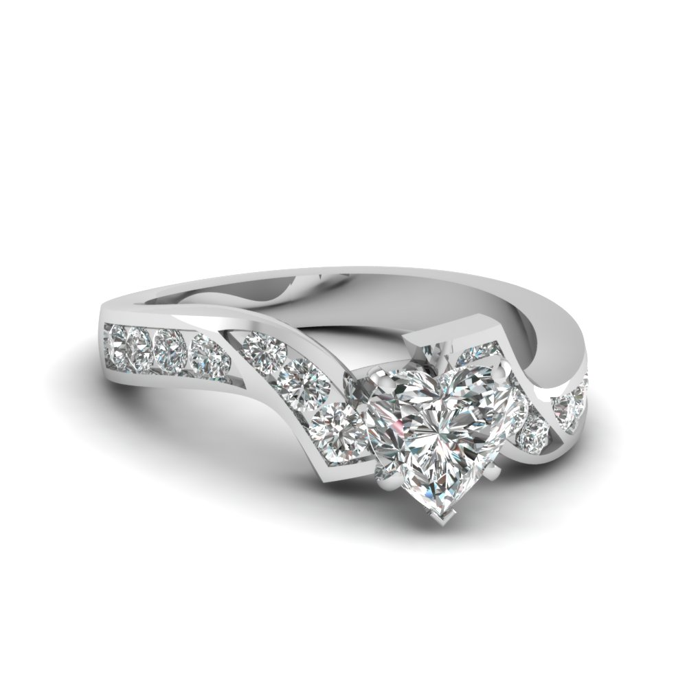 White Gold Twist Heart Diamond Ring