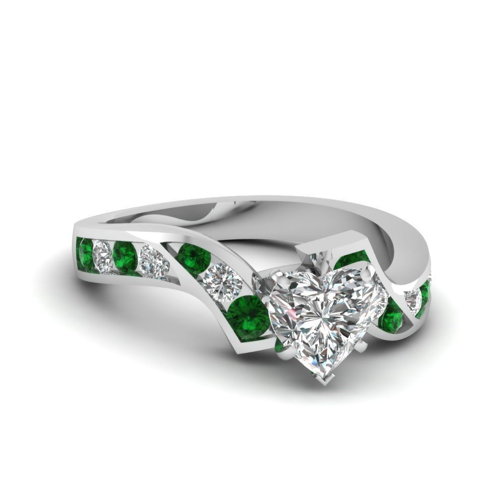 white gold twist heart discounted diamond engagement ring with emerald in FDENS510HTRGEMGR NL WG