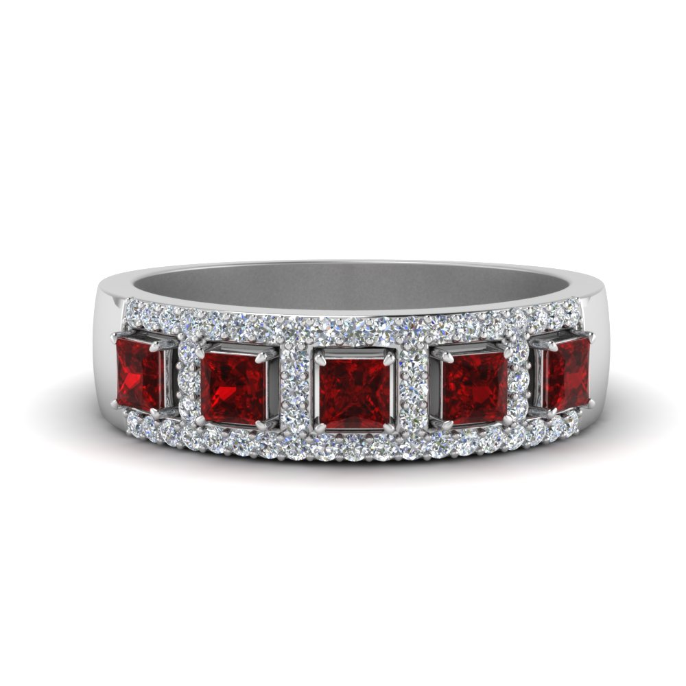 princess cut halo diamond wedding band with ruby in FDWB866BGRUDR NL WG