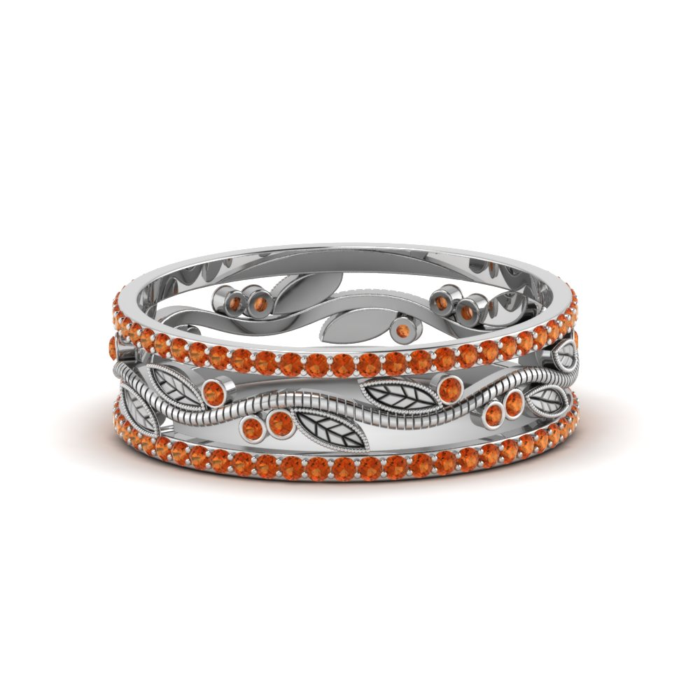 wide branch design band for women orange sapphire in 14K white gold FDEWB8344BGSAOR NL WG GS