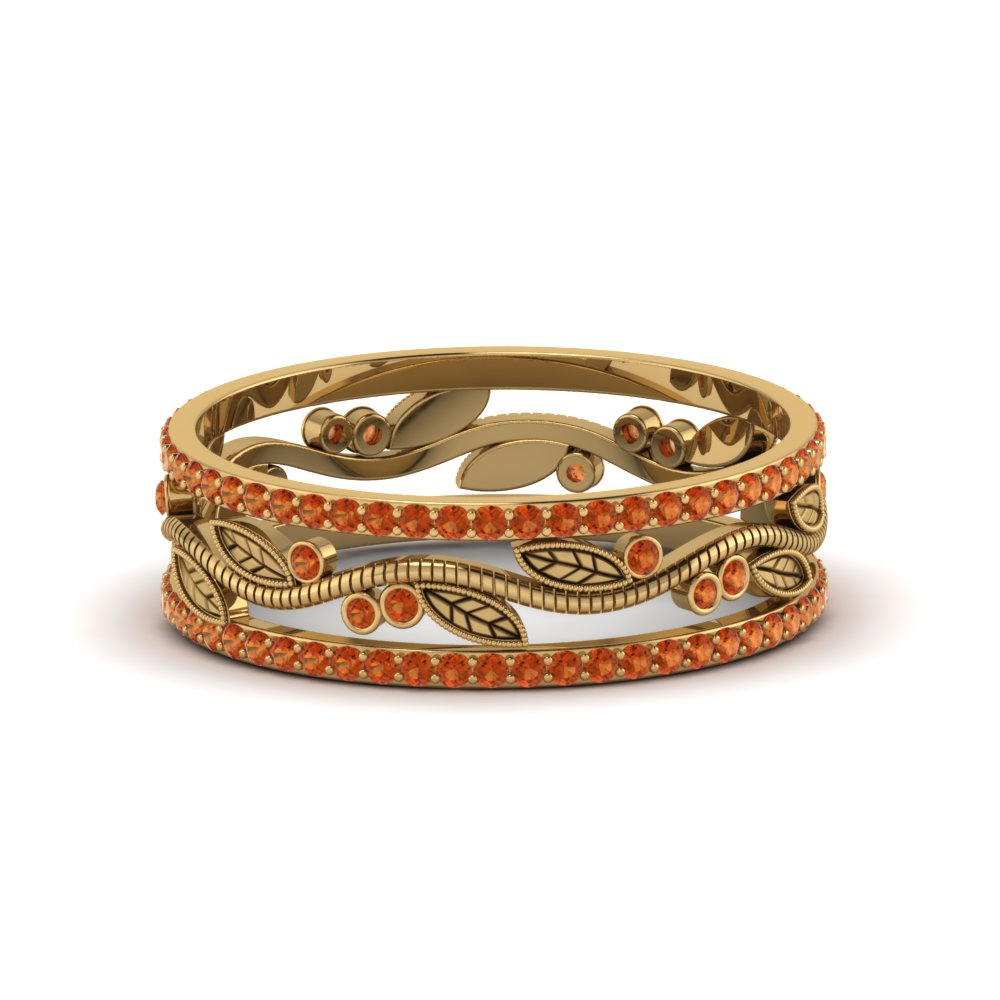 Wide Branch Design Band For Women Orange Sapphire In 14K Yellow Gold