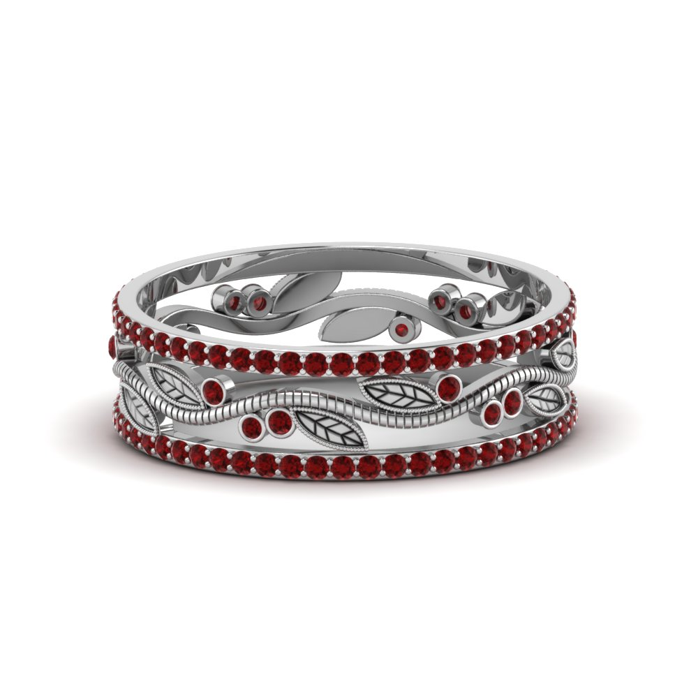 Wide Branch Design Band For Women Ruby In 14k White Gold