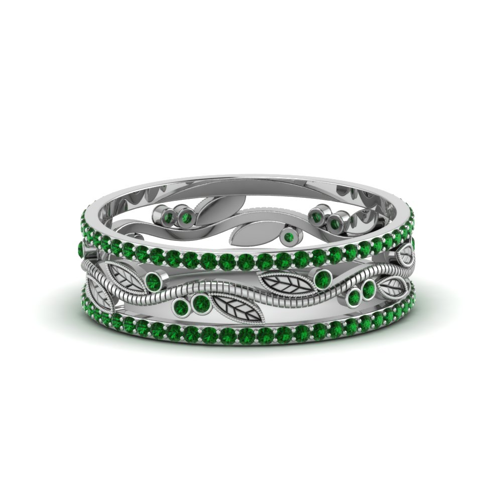 wide branch design band for women with emerald in FDEWB8344BGEMGR NL WG GS